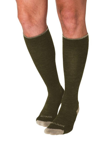 Sigvaris Unisex Merino Outdoor Performance Socks, Calf Length Closed Toe in Olive