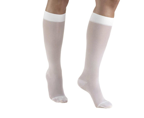 Truform Sheer Lite Compression Hose for Women, Knee High Closed Toe in White