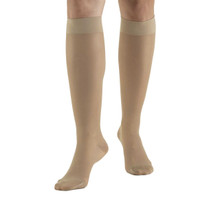 Truform Sheer Lite Compression Hose for Women, Knee High Closed Toe in Warm Beige