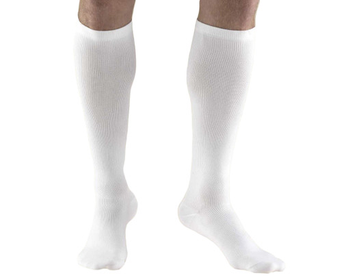 Truform Compression Dress Socks for Men, Calf Length Closed Toe in White