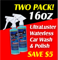 TWO 16oz. UltraLuster Waterless Wash n Polish Trigger Spray Pack