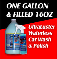 One Gallon UltraLuster Waterless Wash and Polish  with Filled 16oz Trigger