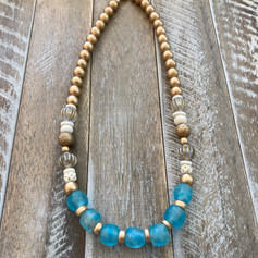 Dark Aqua Recycled Glass Boho
