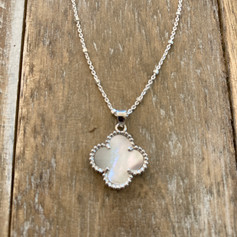 Quatrefoil White Mother of Pearl - Sterling