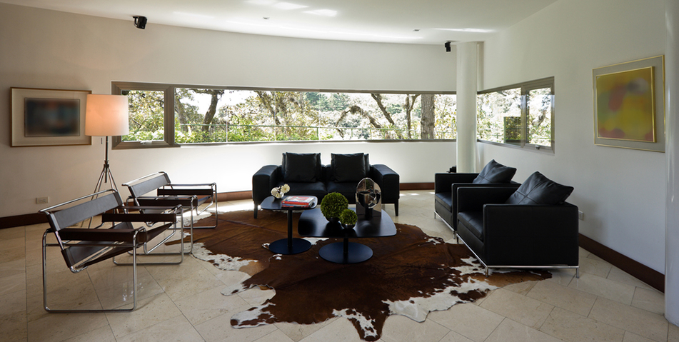 Brwon &  white  cowhides  shown in modern house  with leather  sofas & Courbusier  Chairs