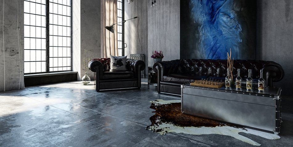 Lrgae  biwn cowhide shown in  warehouse  setting concrete  floors ,chesterfileds & metal  trunk  coffee  table