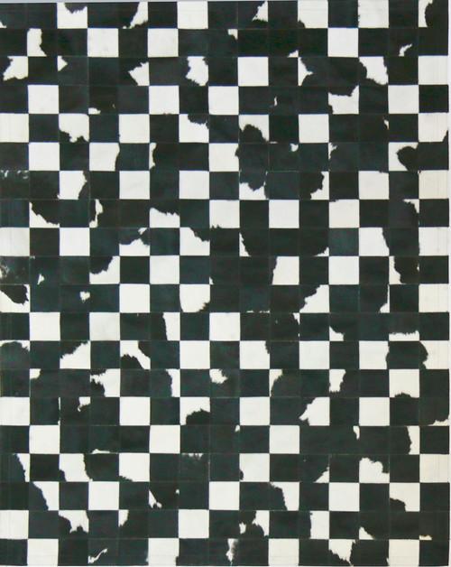 Black &  White  Cowhide  Patchwork  Rug 1.5m x  2m
