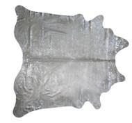Silver Metallic Raindrop Cowhide Rug