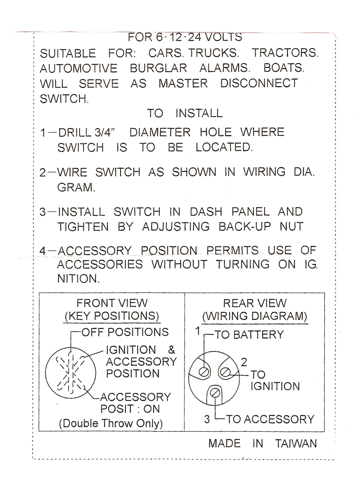 Schematic Wiring Diagram Pin Out Emgo Universal Position Key Switch Ignition on 3497644 Ignition Switch Wiring Diagram