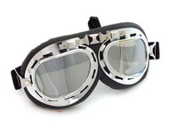 CRG Vintage Aviator Style Motorcycle Goggles - Black Padding - Chrome Frame - Mirror Lens
