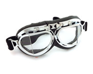 CRG Vintage Aviator Style Split Lens Motorcycle Goggles - Black Padding - Chrome Frame - Clear Lens