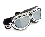 CRG Vintage Aviator Style Split Lens Motorcycle Goggles - Black Padding - Chrome Frame - Mirror Lens