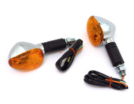 Mini Black & Chrome Turn Signals - Amber Lens - Single Filament