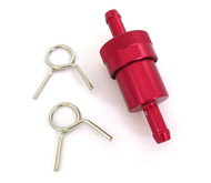Red Anodized Aluminum Fuel Filter - 1/4""