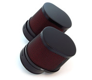 Set of 2 Black & Red Oval Pod Filters - 50mm - Honda CB/CL350/360/450 CB500T