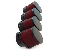 Set of 4 Black & Red Oval Pod Filters - 54mm - Honda CB650/750/900/1000/1100
