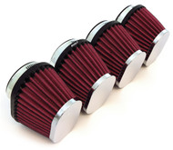 Set of 4 Chrome Performance Oval Pod Filters - 54mm - Honda CB650/750/900/1000/1100