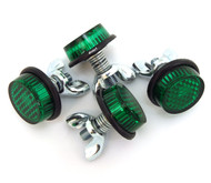 Green Reflector License Plate Bolts - Set of 4