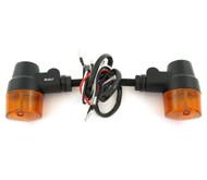 Black Aluminum Turn Signals - Amber Lens - Dual Filament