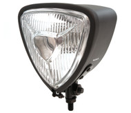 Triangle Bottom Mount Halogen Headlight - Matte Black w/ Clear Lens