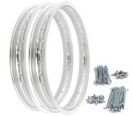 Rising Sun Rim & Spoke Set - Silver - Honda CB350/360/400F