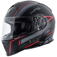 Torc T14B Mako Bluetooth Helmet - Flat Black Scramble Red