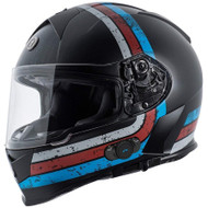 Torc T14B Mako Bluetooth  Helmet - Flat Black Streamline Blue Red