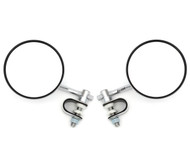 "4"" Chrome Clamp-On Mirror Set - Short Stem"