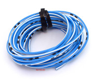OEM Colored Electrical Wire 13' Roll - Sky Blue / White Stripe