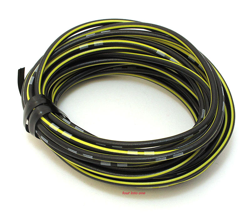 OEM Colored Electrical Wire 13\' Roll - Black / Yellow Stripe
