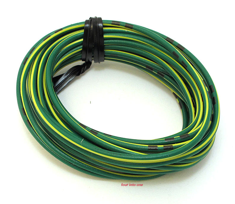 OEM Colored Electrical Wire 13\' Roll - Green / Yellow Stripe