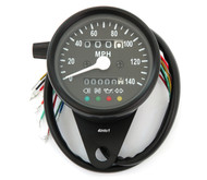 Mini Speedometer w/ Indicator Lights & Trip Meter - 2240:60 - Black - MPH