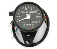 Mini Speedometer w/ Indicator Lights & Trip Meter - 2240:60 - Black - MPH