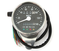 Mini Speedometer w/ Indicator Lights & Trip Meter - 2240:60 - Chrome & Black - MPH