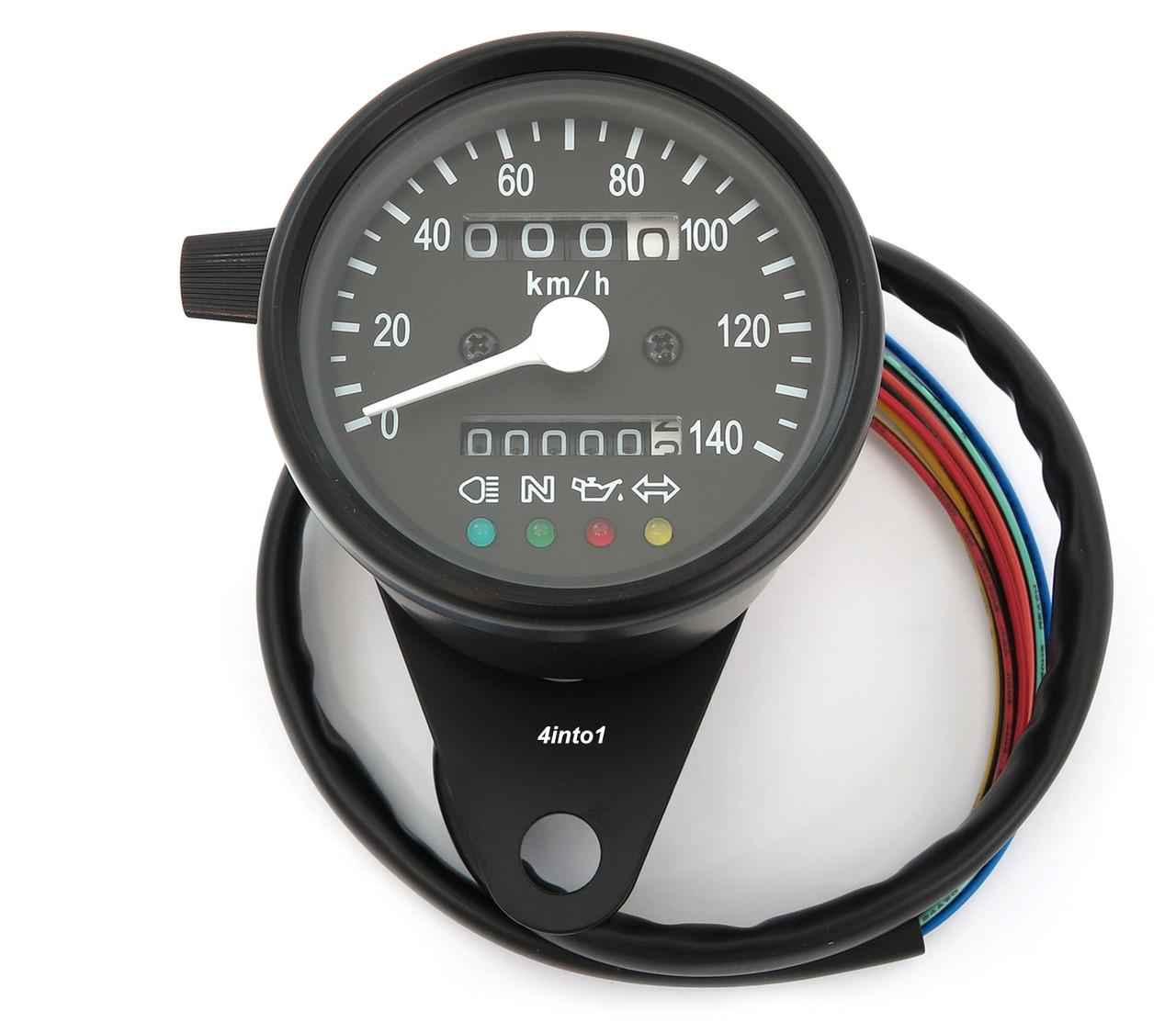 Mini Speedometer w/ Indicator Lights & Trip Meter - 2240:60 - Black - KMH