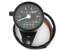 Mini Speedometer w/ Indicator Lights & Trip Meter - 2240:60 - Black - KMH
