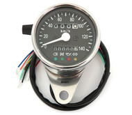 Mini Speedometer w/ Indicator Lights & Trip Meter - 2240:60 - Chrome & Black - KMH