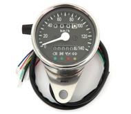 Mini Speedometer w/ Indicator Lights & Trip Meter - 2240:60 - Chrome & Black - KMH