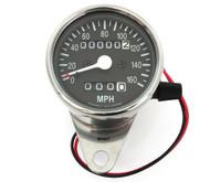 Mini Speedometer w/ Trip Meter - 2240:60 - Chrome & Black - MPH