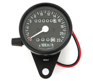 Mini Speedometer w/ Trip Meter - 2240:60 - Black - KMH