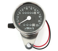 Mini Speedometer w/ Trip Meter - 2240:60 - Chrome & Black - KMH