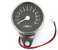 Mini Tachometer - Chrome & Black - 1:7