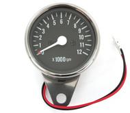 Mini Tachometer - Chrome & Black - 1:7