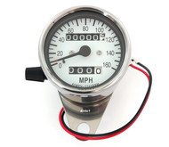 Mini Speedometer w/ Trip Meter - 2240:60 - Chrome & White - MPH