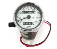 Mini Speedometer w/ Trip Meter - 2240:60 - Chrome & White - MPH
