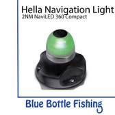 Hella 2 NM NaviLED 360 All Round Green Navigation Lamps- Black  Base