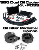 SBG Dual Oil Cooler Kit + Oil Filter Pedestal Combo (FD3S RX-7)