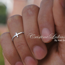 Celebrity Style Sideways Cross Ring with Rope Design - Choose Your Metal