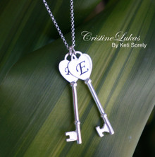 Couples Key Monogram Necklace with Initails - Choose Your Metal