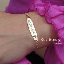Hand Engraved Bar ID Bracelet with Cut Out Cross. Engrave Your Name, Date or Initials - Choose Your Metal